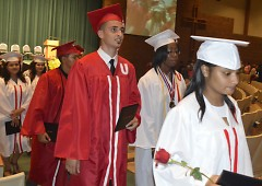 Union High School graduates depart from their commencement ceremony last spring
