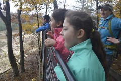 Isabelle Gonzales, front, and Yamilet Ruiz-Gomez gape with wonder at their first sight of Lake Michigan.