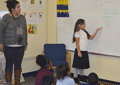 Southwest Community Campus third-grader Martha Martinez helps explain a math equation in Spanish