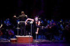 Acrobats, aerial artists, jugglers and contortionists perform to live music from the Grand Rapids Symphony