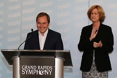 Mary Tuuk with Grand Rapids Symphony Music Director Marcelo Lehninger. Tuuk co-chaired the effort that appointed Lehninger.