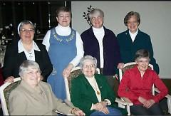Front:Sisters Pat Kennedy, Olga Mizzi,Josine Schafer. Back: Sisters Dorena Gonzalez, Joan Pichette,Kathi Sleziak, Vera Tilmann.