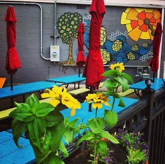 Outdoor seating at the current Eastown location