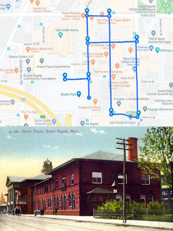A custom Google map delineates the walking tour route where the Union Station once proudly stood.