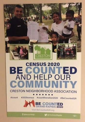 Poster promoting census participation in the Creston neighborhood.
