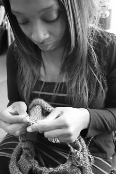 Temia knitting a Ninja Neck in the studio