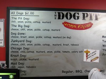 The menu board shows the options.