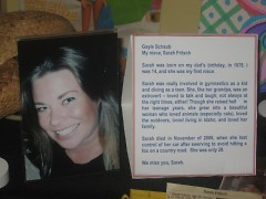 A letter for Sarah, her niece who was killed 5 years ago this month from a car accident.