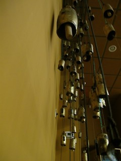 Bells cascade from the ceiling of the Dirk Koning Microcinema.