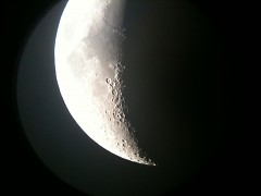 The moon captured on iPhone through Estrada's telescope