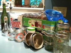 Supplies at the ready for the canning fiesta