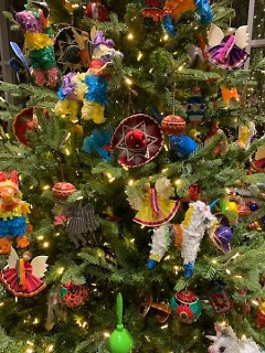 A closer look at the ornaments on Mexico's Christmas tree.
