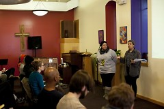 Founders Anita Moore (left) and Briana Urena-Ravelo lead the discussion at the first ever gathering for BLM Grand Rapids.