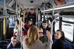 Students learn how to ride the bus.