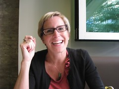 Jane Bock, graphic designer, hotel guest