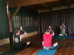 Yoga class at the Shen Dojo