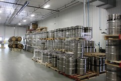 Kegs waiting for distribution at Perrin Brewing Company