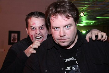 Jason James (left) of Michigan Film Reel, poses with special effects artist, Mark A. France, at Thriller! Chiller! (2010)