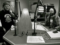 PaleoRadio host Jeremiah Bannister (left) and producer JD Sullivan on air in the WPRR studio