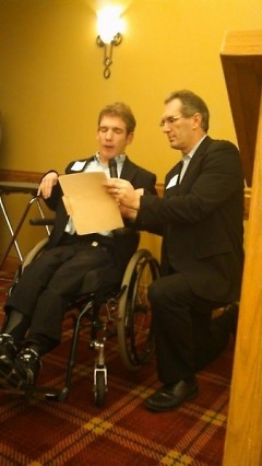 2013 Moving People Forward Award winner, John Agar, makes a speech.