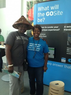 A visitor from Kenya with GoSite staff member Lysandra French