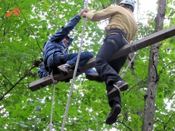 The entire LGR class participated in a High-Ropes course at their opening retreat at Little Pine Island (S.A. Camp).