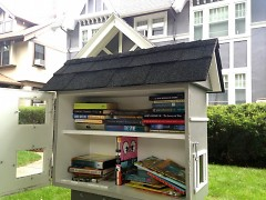 Protected from the weather, a wide variety of books are available to all.