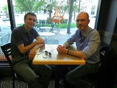 Richard Nègre (right), Chris Protas (left) at Biggby Coffee (Downtown Grand Rapids)
