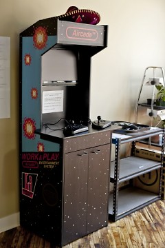 An arcade machine designed and built by a member