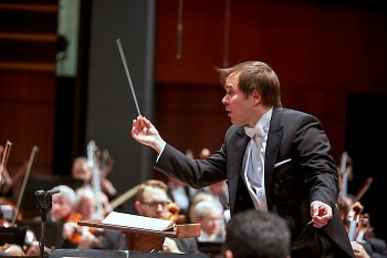Music Director Marcelo Lehninger leads the Grand Rapids Symphony in DeVos Performance Hall.
