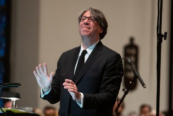 Julian Wachner, artistic director of the Grand Rapids Bach Festival, conducts on March 21 in St. Mark's Episcopal Church.