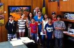 The GAAH Press Club and Mayor Heartwell at City Hall.