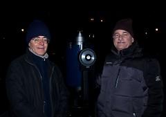 Javier Estrada (left) and Frank Roldan show off a high-powered telescope