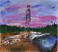 An art piece by Mandi Creveling depicts a fracking well on Michigan state forest land.