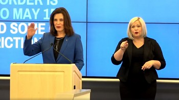 """Gov. Whitmer provided COVID-19 response updates and details of """"Stay Home, Stay Safe"""" order extension through May 15."""