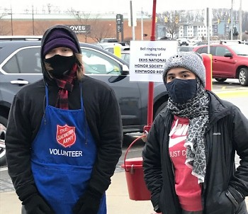East Kentwood High School National Honor Society students ringing at Sam's Club.