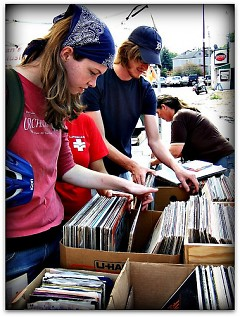 Buying records at the WYCE music sale