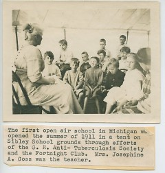 In 1911,  Goss became Michigan's first teacher of an open air school, a new concept to prevent children from contracting TB..