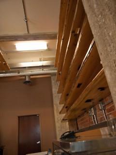 Wood work inside of Trillium Haven.