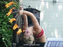 Playing with fire on stage at the first annual Network Neighborhood Bash.