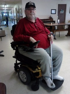 Tony's new power chair will give him freedom to go where he wishes.
