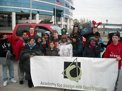Student from the Academy of Design and Construction participated in this year's Santa Parade in downtown Grand Rapids.