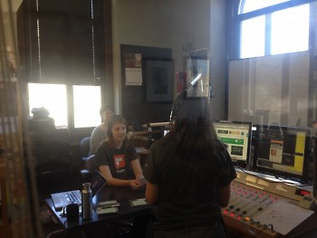 The Rapidian's Chelsea LaForge, Holly Bechiri, and Linda Gellasch live on the air
