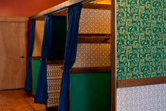 Dressing rooms made from upcycled materials