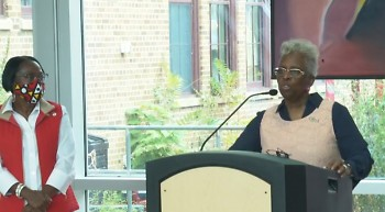 Gertrude Croom, organizer for PROACTIVE, speaking at the Sept. 9 press conference on Grand Rapids' census turnout.
