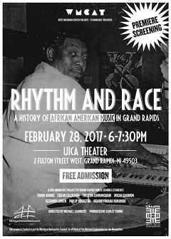 """Rhythm & Race: A History of African American Music in Grand Rapids"" event poster"