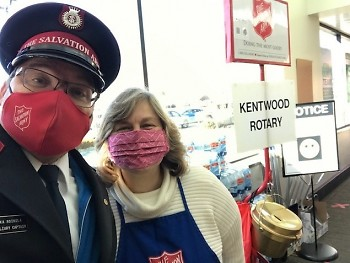A/Captain Mika Roinila joins with Dr. Alice Chapman at the Forest Hills Foods this past Saturday.