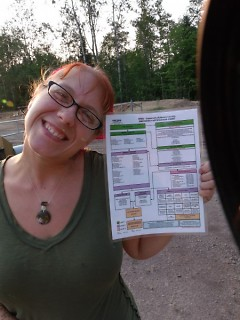 Barker with an emergency response chart on-site at a Kalkaska county frack well