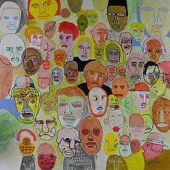 """Otto's previous work, """"Faces"""", from 2012. Made with acrylic, paint pen, and marker."""