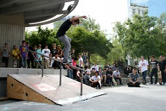 The crowd watches a skateboarder during the June fundraising competition.